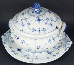 Royal Copenhagen Blue Fluted round covered soup tureen with handled underplate.