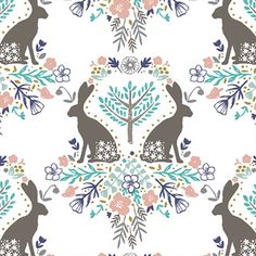 Hawthorne Threads - Cottontail - March Hares in Spring #cottontailfabric #hawthornethreads