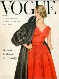 1954 Jean Patchett in red silk taffeta, permanent pin-pleated with tiny little bows by Sophie of Saks Fifth Avenue, EMBA mink fur coat by Dior-New York, jewelry Van Cleef & Arpels, cover by Irving Penn, October