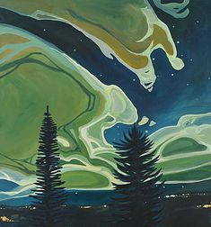 Erica Hawkes dramatic landscape paintings have a recognizable style with curved decorative lines inspired by natural forms and structures. Abstract Landscape, Landscape Paintings, Landscapes, Impressionist Landscape, Painting Abstract, Acrylic Paintings, Painting Inspiration, Art Inspo, Canadian Art