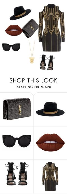 """slay"" by anjola112 on Polyvore featuring Yves Saint Laurent, Janessa Leone, Lime Crime, Zimmermann, Balmain and Gorjana"