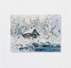 Oil painting-Canvas painting-Landscape-Winter by ValeriyUshkov on Etsy