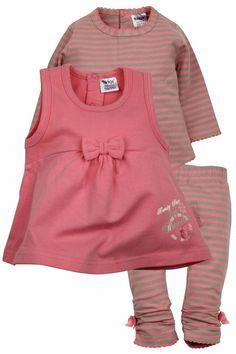 Dirkje babykleding 3 delig setje sweetie roze met zandkleurig