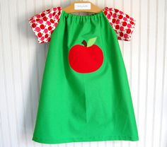 Apple Dress  Short Sleeve Peasant Style Sizes 1218 by thetrendytot, $45.00