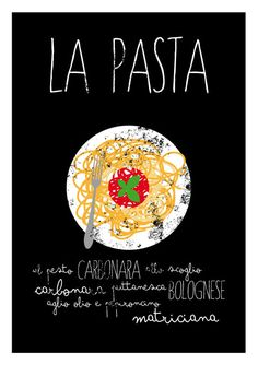 La Pasta Typographic print poster art print by ShufflePrints Pasta Kunst, Pizza Y Vino, Pasta Art, Kitchen Art Prints, Restaurant Poster, Italian Posters, Italy Food, Grafik Design, Food Illustrations