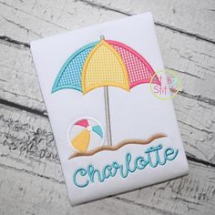 Beach Umbrella Ball Applique Design for Machine Embroidery, shown with Lemon Meringue font NOT inclu Baby Set, Applique Designs, Machine Embroidery Designs, Beach Umbrella, Machine Applique, Vinyl Designs, Burp Cloths, Baby Quilts, Sewing Projects