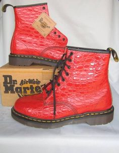 Docs New Vintage Red Crocodile Patent Dr Martens Womens Boots