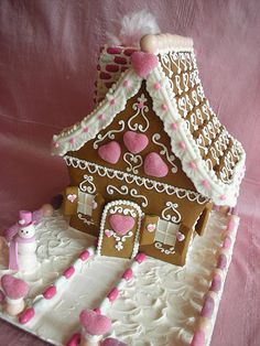 Valentine Gingerbread House by With Love & Confection.I've always wanted to do a Valentine's gingerbread house/village. Christmas Gingerbread House, Noel Christmas, Pink Christmas, Christmas Goodies, Christmas Baking, Christmas Treats, All Things Christmas, Christmas Decorations, Gingerbread Houses