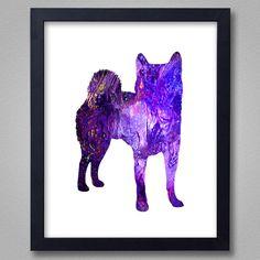 Shiba Inu Art Print - Proceeds to Shelters - Dog Wall Art - Abstract Digital Animal Painting
