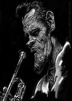 Chet Baker   -karikatúra A3, digitálna kresba