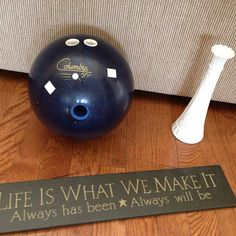 Stopped by the #goodwill today after work! #thrifted this bowling ball.. #milkglass ..wooden sign all for $4.00! Will be using the BB  wooden sign as a #diy #upcycle project for my garden! Can't wait to show y'all!