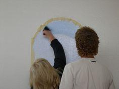 Painting a trompe l'oeil wall mural