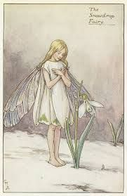 Cicely Mary Barker Illustration of the Snowdrop Fairy for Flower Fairies of the Garden. Cicely Mary Barker, Fairy Land, Fairy Tales, Arte Fashion, Spring Fairy, Vintage Fairies, Alphonse Mucha, Winter Art, Groundhog Day