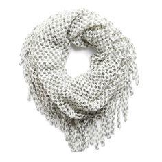 Beau Mesh Knit Fringe Detail Infinity Scarf