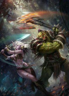 Night Elf Orc World of Warcraft Art Board ^^ // Blizzard // wow // // Digital // Geek // Fantasy World, Dark Fantasy, Final Fantasy, Digital Art Illustration, Art Warcraft, World Of Warcraft Gold, Orc Warrior, Wow World, Elf Art