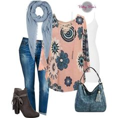 Set includes 3 items: Light Pink Floral Blouse, White Nylon Tank, and Blue Fringe Scarf. Retails separately for $81. Fits: Small 2/4, Medium 6/8, Large 10/12, XL 14/16, XXL 18, XXXL 20 Click Here for