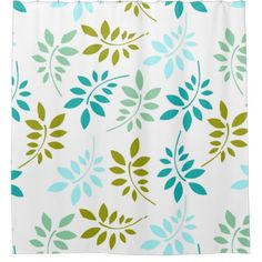Retro Green Turquoise Leaf Pattern Shower Curtain - pattern sample design template diy cyo customize