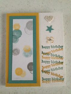 All new Stampin' Up! Incolors and products.  Hello Honey and Lost Lagoon ink and paper plus a piece of Moonlight DSP paper pack.  Stamped Happy Birthday and flower from Something to Say stamp set.  Punched out heart and star using Itty Bitty Accents Punch pack.