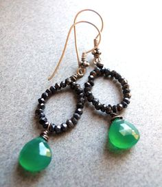 NEW TODAY Black Forest  green onyx and mystic coated black by Sueanne Shirzay, $42.00