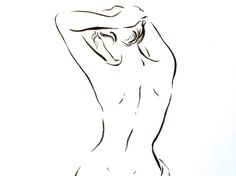 ORIGINAL ink drawing nude women sitting Illustration by narteck