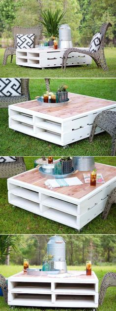 DIY Outdoor Pallet Coffee Table cheap home decor ideas rustic coffee tables Pallet Crafts, Diy Pallet Projects, Outdoor Projects, Diy Crafts, Pallet Ideas, Woodworking Projects, Pallet Home Decor, Wood Projects, Palet Exterior