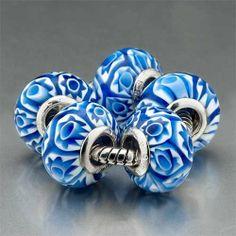 Pugster 5 Blu Flower Murano Glass Beads Fit Pandora Charm Bracelet (include Bracelet) Pugster. $39.99. Size (mm): 10.67*15.21*15.21. Metal: murano glass. Weight (gram): 2.9. Color: blue,white