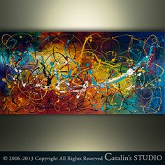 Abstract Painting Original Painting Palette Knife by Catalin, $229.00