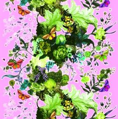 """Timorous Beasties """"Butterfly Blurr"""" in Pink 1 Timorous Beasties, Upholstery, Butterfly, Display, Floral, Green, Fabric, Plants, Pink"""