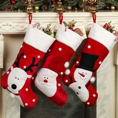 Accent your home this holiday season with the adorable Jolly Friends Pompom Christmas Stockings. Polyester accents feature appliques of a reindeer, Santa. Christmas Patchwork, Needlepoint Christmas Stockings, Christmas Stocking Pattern, Xmas Stockings, Felt Christmas Ornaments, Christmas Sewing, Noel Christmas, Homemade Christmas, Reindeer Christmas