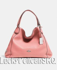 COACH 33547 EDIE SHOULDER BAG HANDBAG LEATHER Silver/Pink NWT #Coach #ShoulderBag