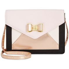 Betsey Johnson Envelope Crossbody, ($68) ❤ liked on Polyvore featuring bags, handbags, shoulder bags, blush, cross-body handbag, betsey johnson, crossbody shoulder bags, colorblock purse and crossbody purses
