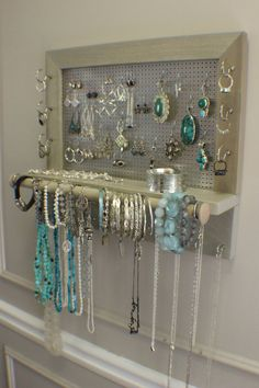 Soft Sun Bleached and Chrome Jewelry Holder with by TheKnottyShelf, $70.00