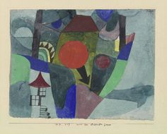 With the sinking sun, 1919, 247. Watercolor on primed paper on cardboard (19.6/20 x 26.2 cm). Private collection, Switzerland, on permanent loan at the Zentrum Paul Klee, Bern. © VEGAP, Madrid, 2013. Courtesy of Fundación Juan March. Click above to see larger image.