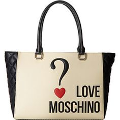Life is full of questions.  Find the answer to happiness by punctuating passion carrying this LOVE Moschino Question Mark Bag.  #LOVEMoschino #ZapposCouture