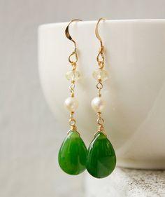 Gold Green Nephrite Jade Earrings - Gemstone Earrings - Yellow Lemon Quartz, Freshwater Pearls