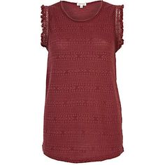 Red frayed sleeve tank top - plain t-shirts / vests - t shirts / vests / sweats - women  £18