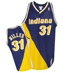 cc139a5283a4 Mitchell and Ness Indiana Pacers Authentic Gold Reggie Miller Navy  Throwback  Jersey - Men s