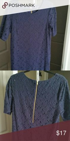 Navy blue mini dress Lacy navy blue zippered dress Dresses Mini