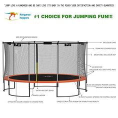 Kangaroo Hoppers Round Trampoline with Safety Net Enclosure and Spring Pad (Bonus L-Shaped Ladder Included) Outdoor Trampoline, Indoor Outdoor, L Shape, Kangaroo, Ladder, Safety, Trampolines, Storage, Spring