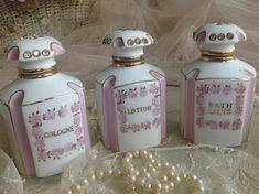 Lovely vintage pink*gold and rhinestones boudoir jars