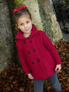 Made from Merino wool Beautiful girls double breasted cardigan with football buttons. Made with a combination of traditional Irish stitches. Warm and stylish. Coat Patterns, Knitting Patterns, Knitted Coat Pattern, Crochet Baby, Knit Crochet, Toddler Sweater, Girls Jumpers, Irish Traditions, Kids Coats