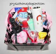 bridesmaid survival kit - click to check out all the goodies they put in it.
