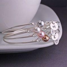 Personalized Silver Pearl Bangle Bracelet