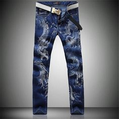 2016 men jeans new Chinese style personality fashion animal dragon pattern printed denim casual jeans high quality trousers