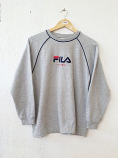 Vintage 90's FILA INTIMO Roundneck Sweatshirt with Big Logo Spell Out Embroidered Sweater Jumper Pullover Streetwear Adult size L VSS102 by fiestorevintage on Etsy