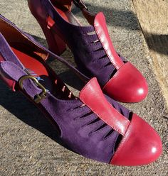 Remix Vintage Shoes, Parkview Oxford Bootie Heel in Red Leather/Purple Suede
