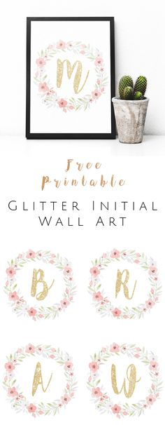 FREE Printable Glitter Initial Wall Art - Watercolor and gold glitter monogram. - OkieHome blog freebies