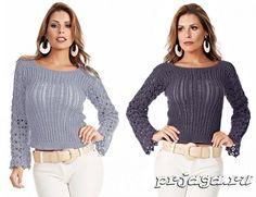 Вязание спицами и крючком ажурного пуловера