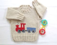 Baby sweater with train motif - 6 to 12 months - Hand knit baby clothes - Baby shower gift - Baby boy handknitted train sweater - Stricken - Kids Knitting Patterns, Knitting For Kids, Baby Patterns, Baby Knitting, Baby Pullover, Baby Cardigan, Knit Cardigan, Knitted Baby Clothes, Granny Square Crochet Pattern