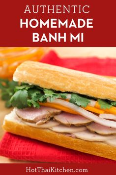 Make Vietnamese banh mi sandwich at home easily! This version includes a recipe for homemade lemongrass pork that's delicious and easy to make. Easy Vietnamese Recipes, Easy Asian Recipes, Vietnamese Food, Korean Food, Pork Recipe Video, Kitchen Recipes, Cooking Recipes, Banh Mi Recipe, Banh Mi Sandwich
